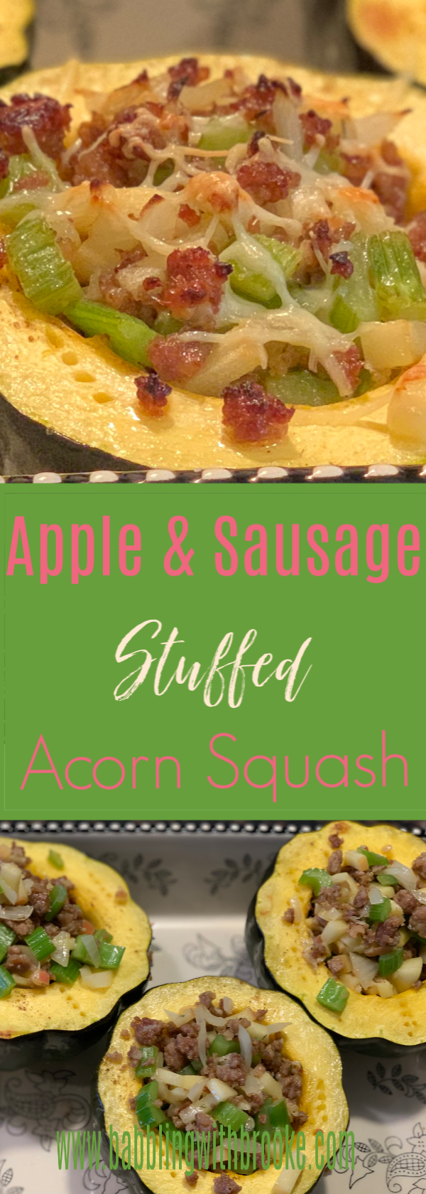 Sausage and Apple Stuffed Acorn Squash   Easy Dinner Recipe